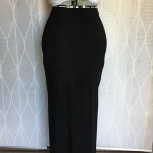 Long jersery knit skirt with side slits, size M